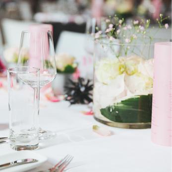 Tischdekoration Hochzeit Rosa Weiss Optimahl